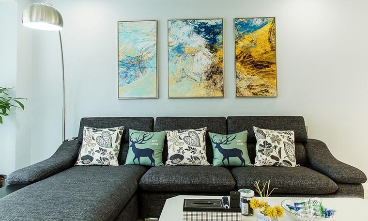 现代简约风格公寓装修客厅装饰画图片