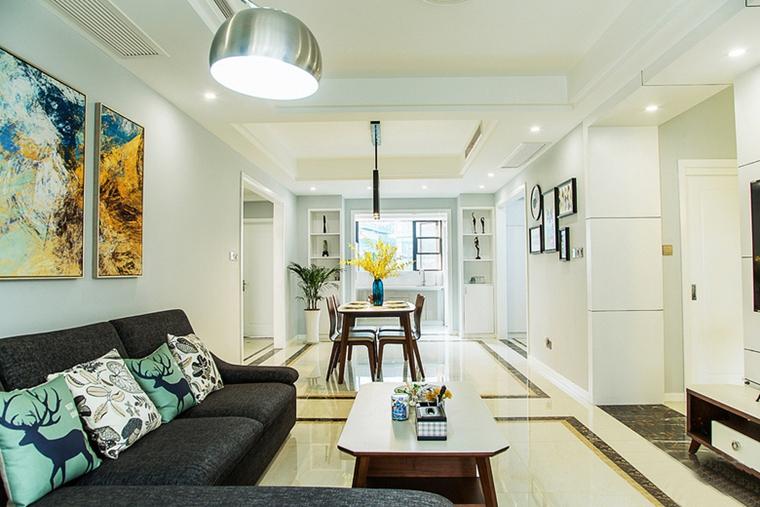 现代简约风格公寓装修客厅吊灯