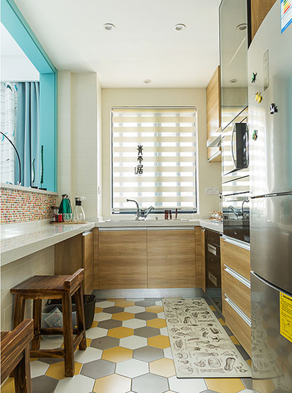 北欧混搭装修厨房实景图