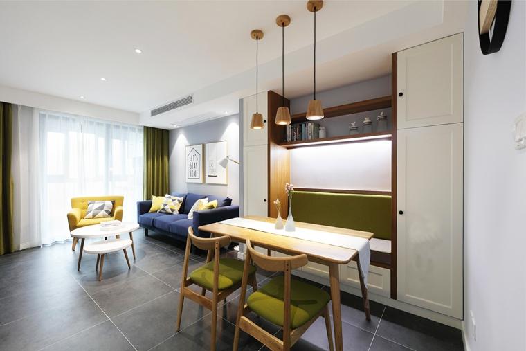 90平北欧风格两居室客厅效果图