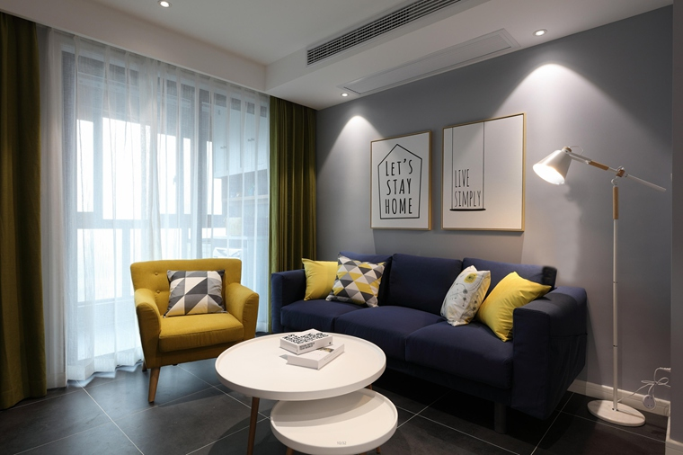 90平北欧风格两居室客厅背景墙图片