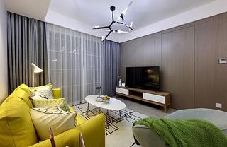 90平美式风格装修客厅窗帘图片