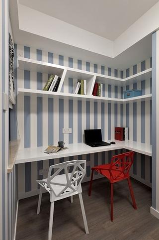 90平美式风格装修书房效果图
