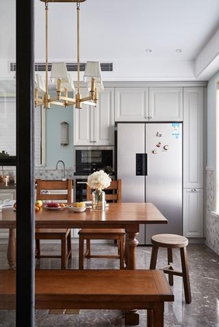 120平两居室复古装修餐厅吊灯图片