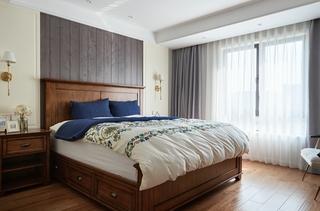 120平两居室复古装修卧室效果图