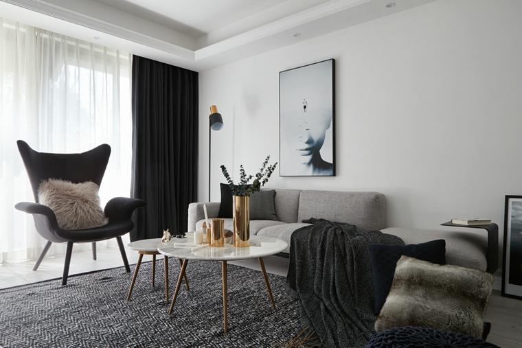 魅力北欧风格装修客厅窗帘图片