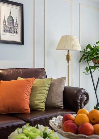 100平美式风格装修客厅真皮沙发