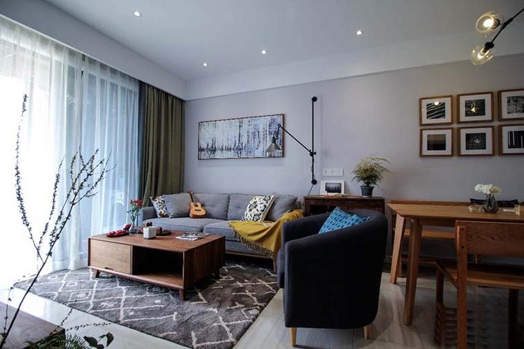 110平简约风格三居室客厅单人沙发
