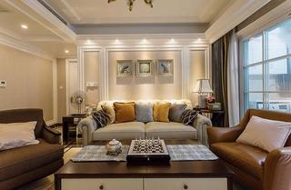 130平美式风格三居室装修沙发背景墙图片