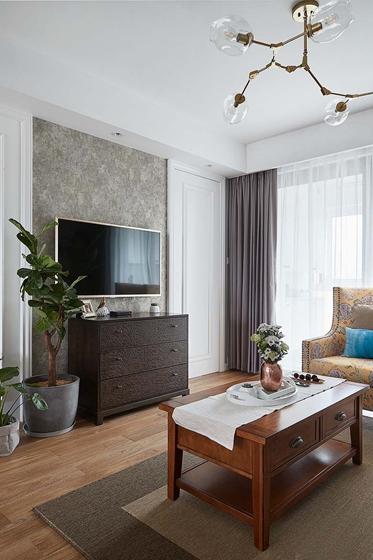 20万全包90平三居室客厅背景墙