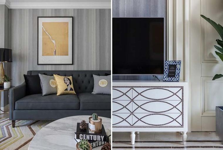 120平美式风格装修电视柜