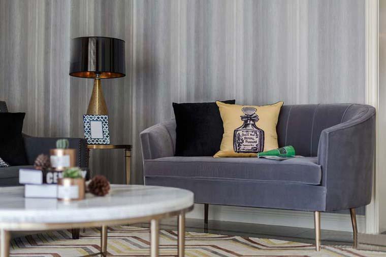120平美式风格装修客厅效果图