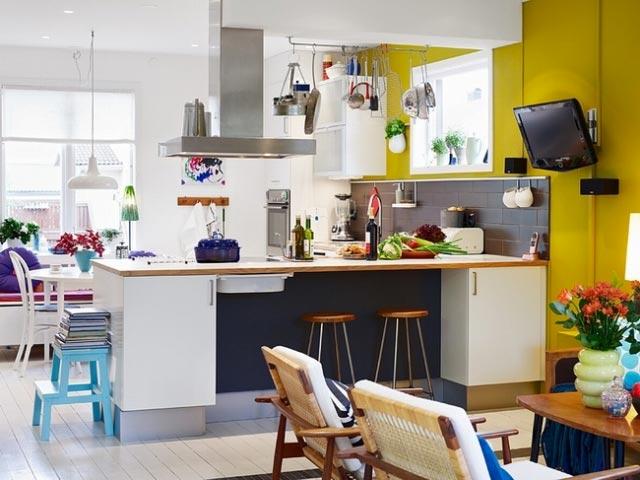 彩色厨房装修装饰效果图