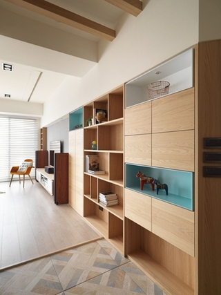 北欧风格三居室装修收纳柜图片