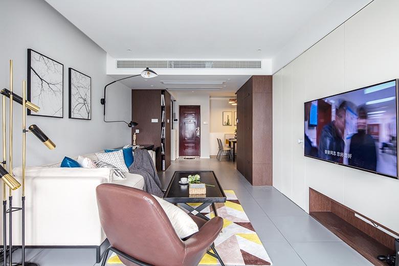 83㎡现代风三居室客厅整体图片