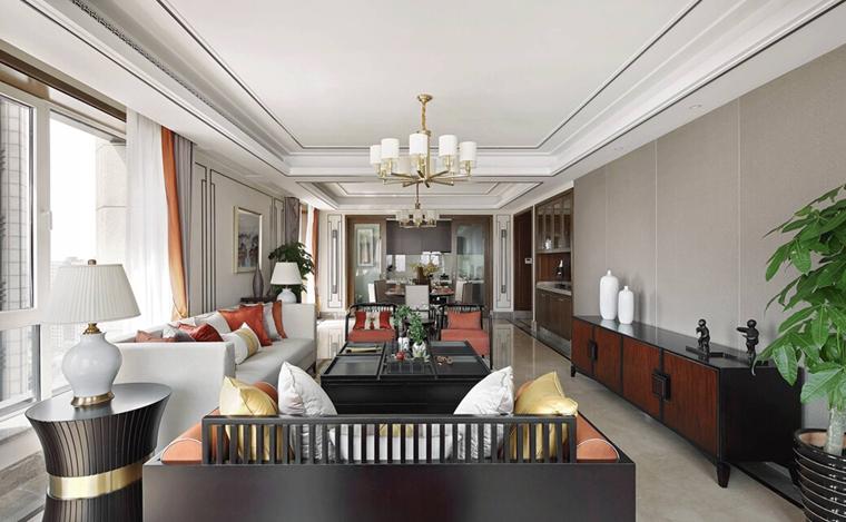新中式风格大户型装修客厅效果图