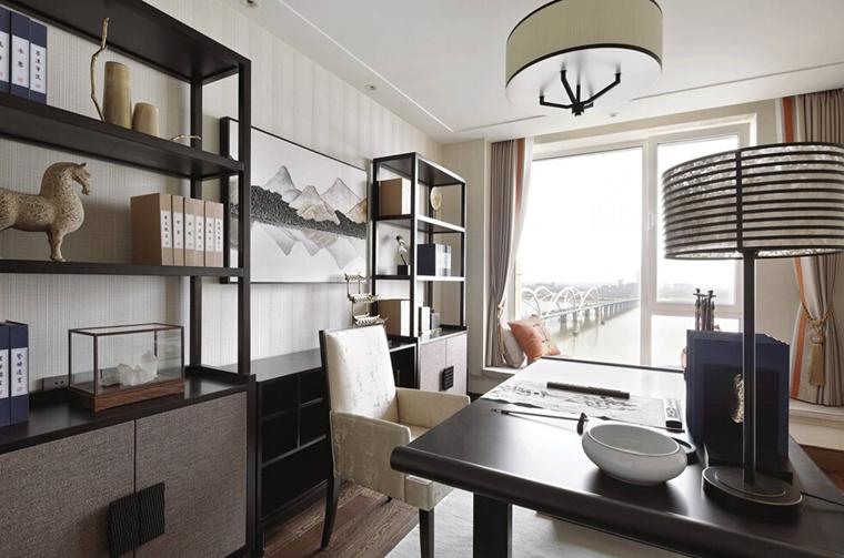 新中式风格大户型装修书房效果图