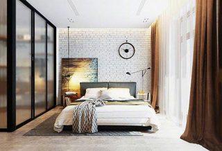 现代风格卧室装修摆放图