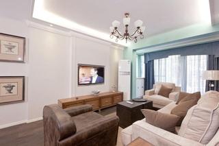 80平清新美式风格装修客厅吊灯图片