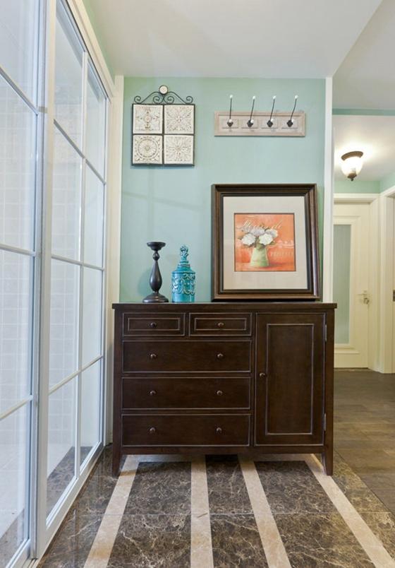 80平清新美式风格装修收纳柜图片