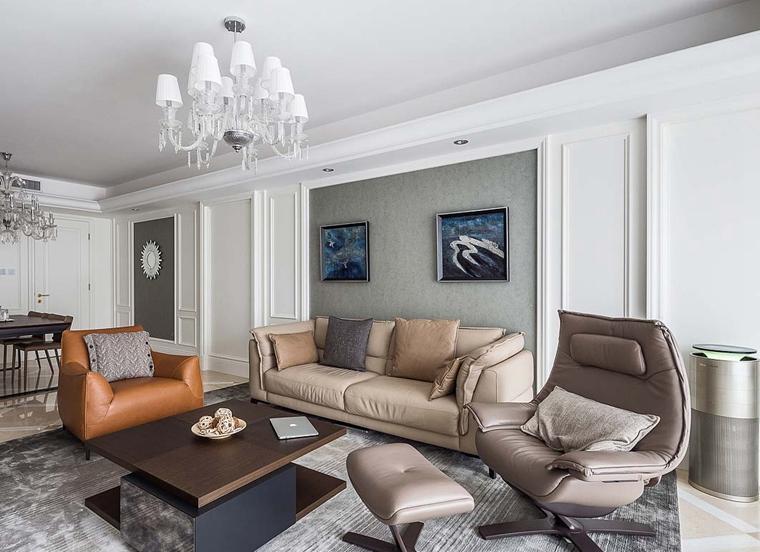 130平简约风格三居室客厅背景墙