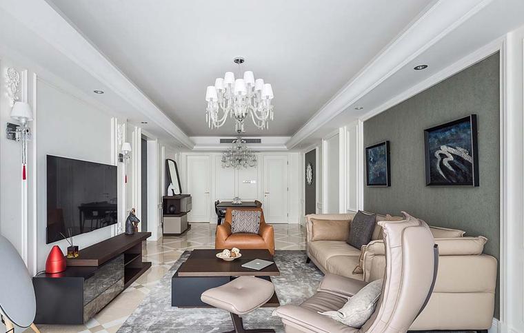 135平简约风格房子装修客厅吊灯