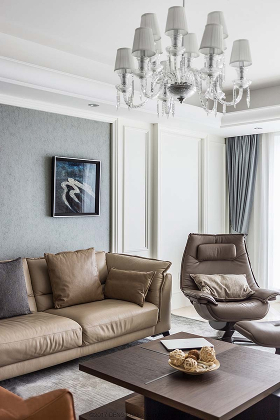 130平简约风格三居室真皮沙发图片