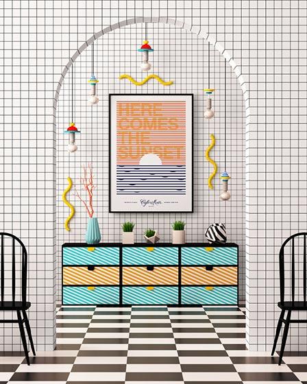 波普风背景墙设计效果图