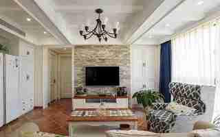 120平三居室装修客厅吊灯