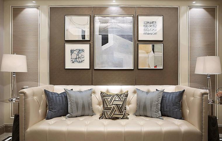 90平法式样板房装修真皮沙发图片