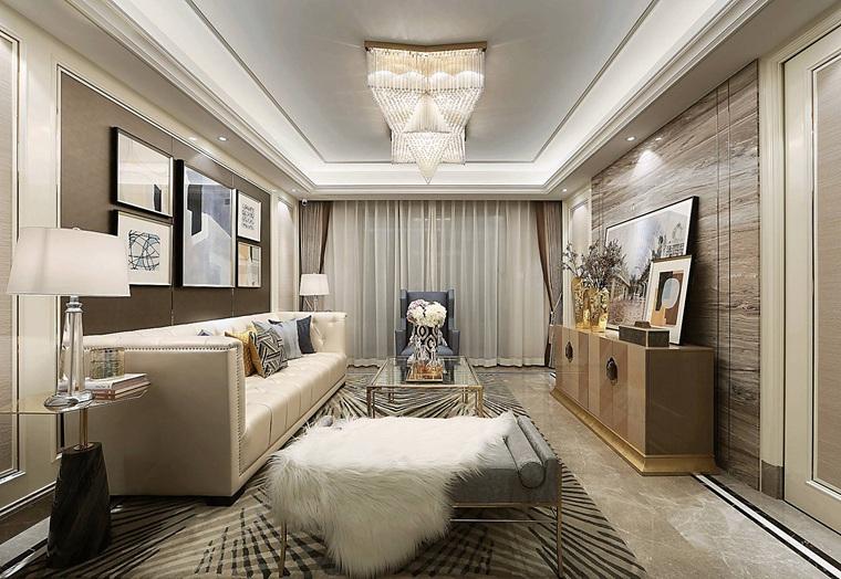 90平法式样板房装修客厅效果图