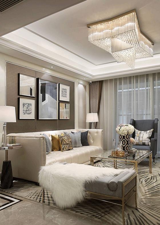 90平法式样板房装修客厅地毯
