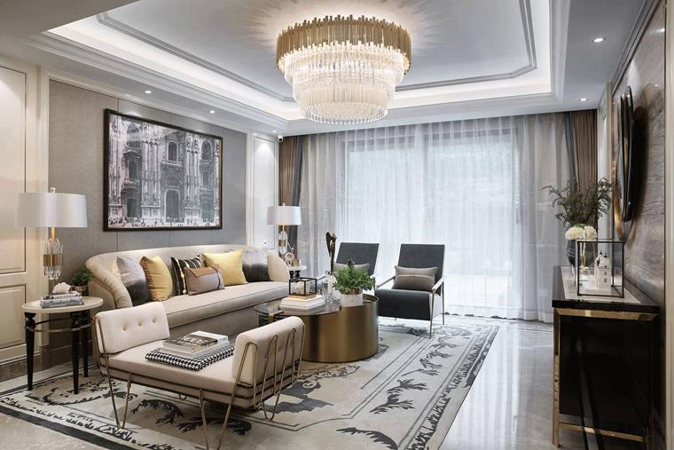 120平三居室样板房装修客厅效果图