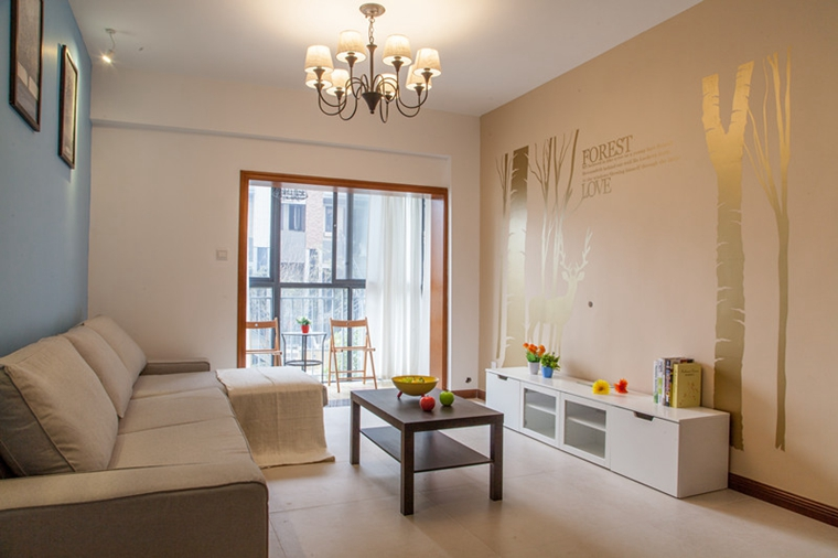 12万装的现代风格房子装修 简单不失温暖客厅效果图