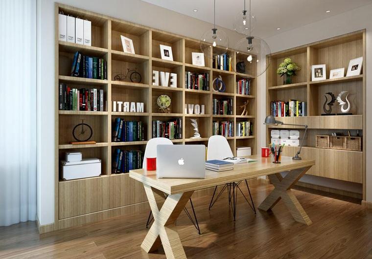 原木风书房书柜设计图