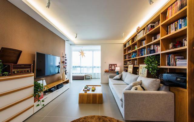 把书架设计成沙发背景墙,瞬间多了一间书房有木有!