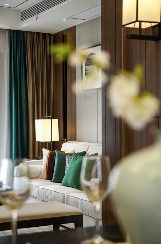 不一样的中式风格装修客厅窗帘效果图