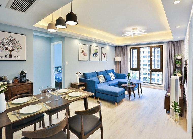 90平蓝调小户型客厅效果图