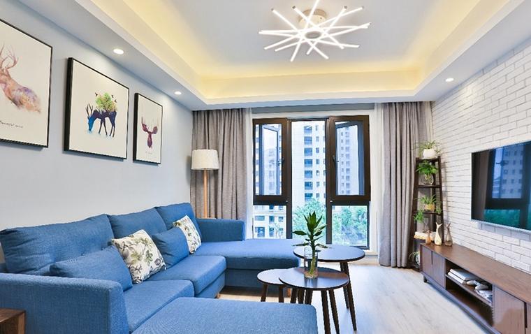 90平蓝调小户型布艺沙发图片
