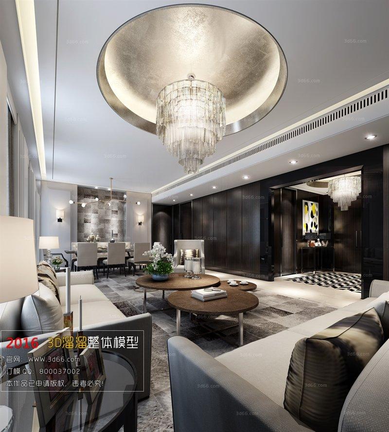 3-5万70平米美式二居室装修效果图,美式装修案例效果