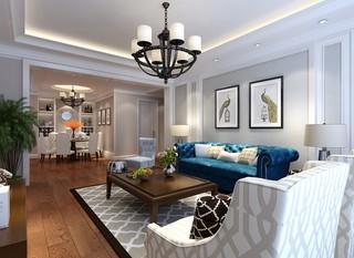 现代美式风三居客厅装修效果图