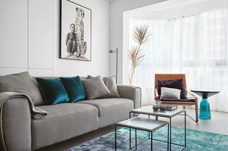北欧极简文艺两居室布艺沙发图片