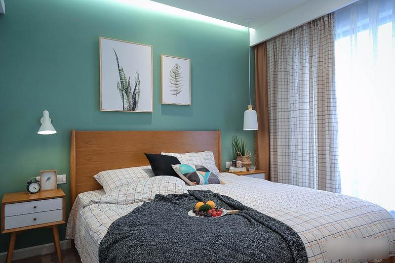 90平北欧风白领公寓卧室装修图