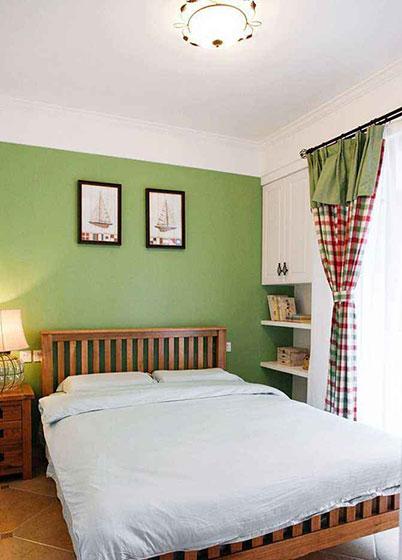 卧室田园风格布艺窗帘效果图