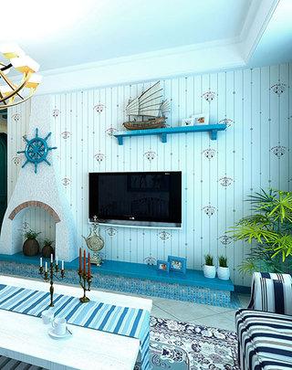 海边自然地中海电视背景墙装修图