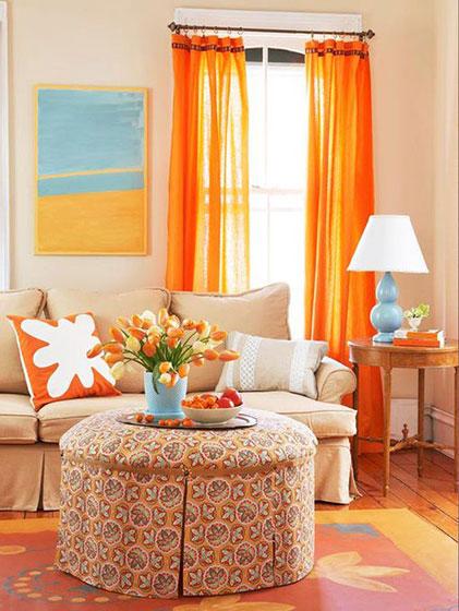橙色客厅装修布局图