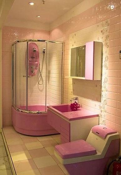 粉色浴室装修图