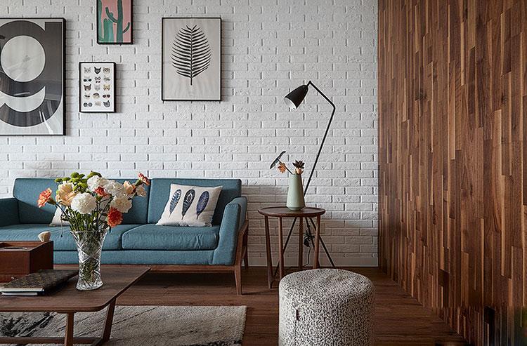 89㎡清新北欧风装修沙发背景墙装修图