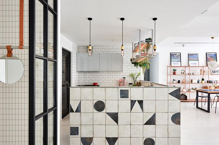 清新北欧风格装修开放式厨房效果图