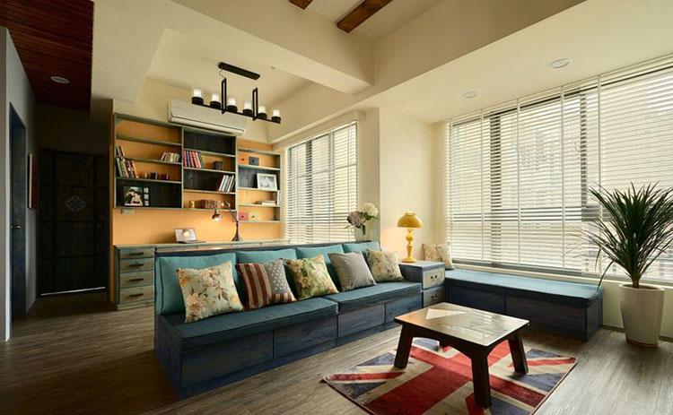 86㎡田园两居室客厅效果图